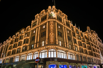 Harrods Department Store, London England. Christmas lights