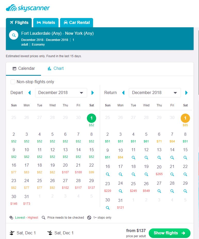 Calendar display from SkyScanner flight search