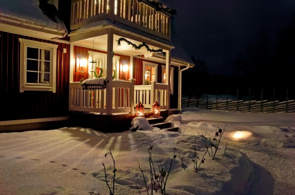Traditional Swedish home decorated for Christmas