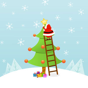 Santa on a ladder, putting the star on a Christmas tree