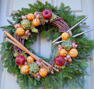 Colonial style holiday wreath